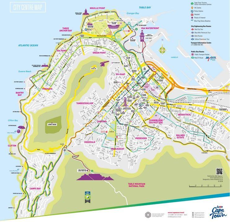 Cape Town tourist map Maps Pinterest Tourist map Cape town