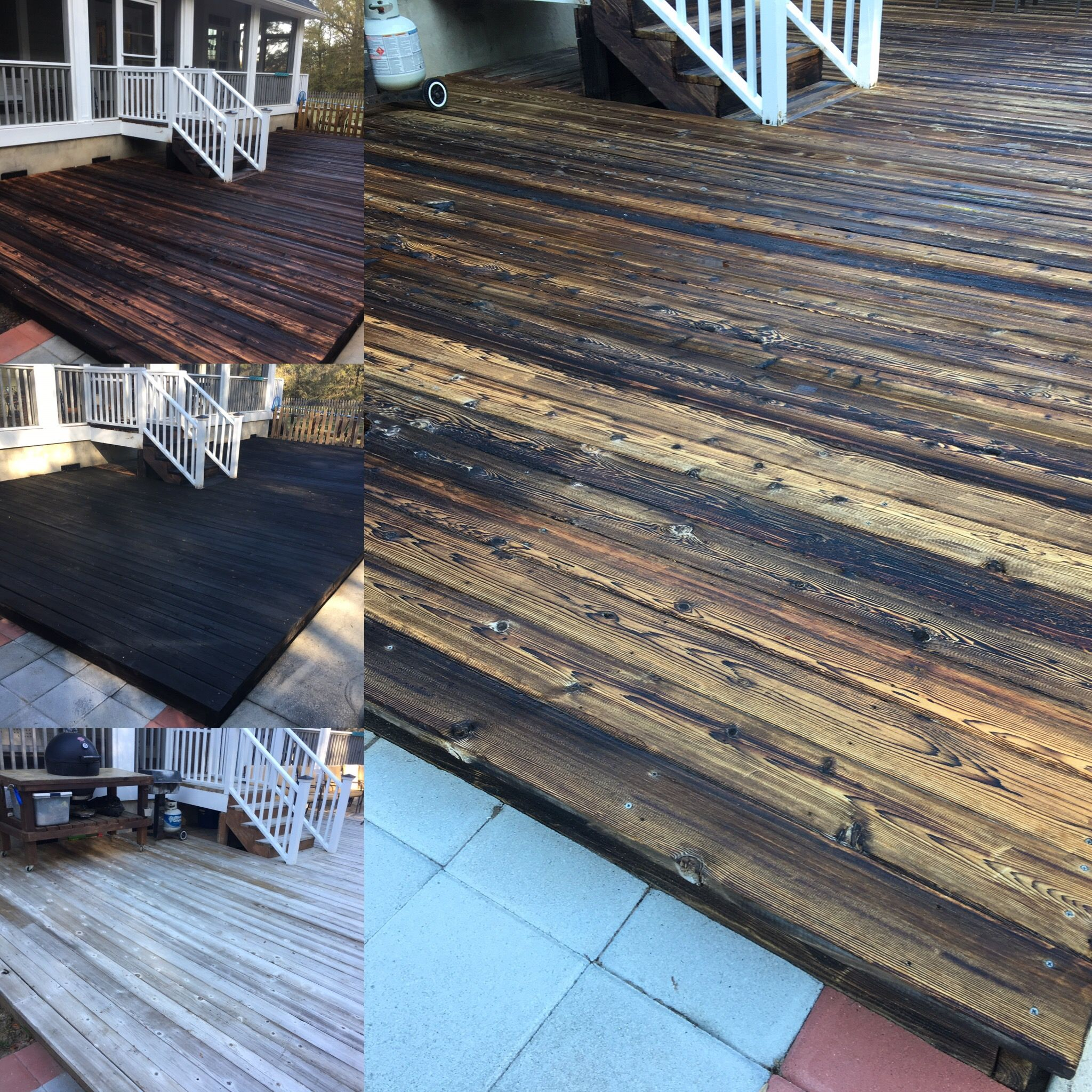 Shou sugi ban yakisugi deck completed on 30 year old for Reclaimed wood decking