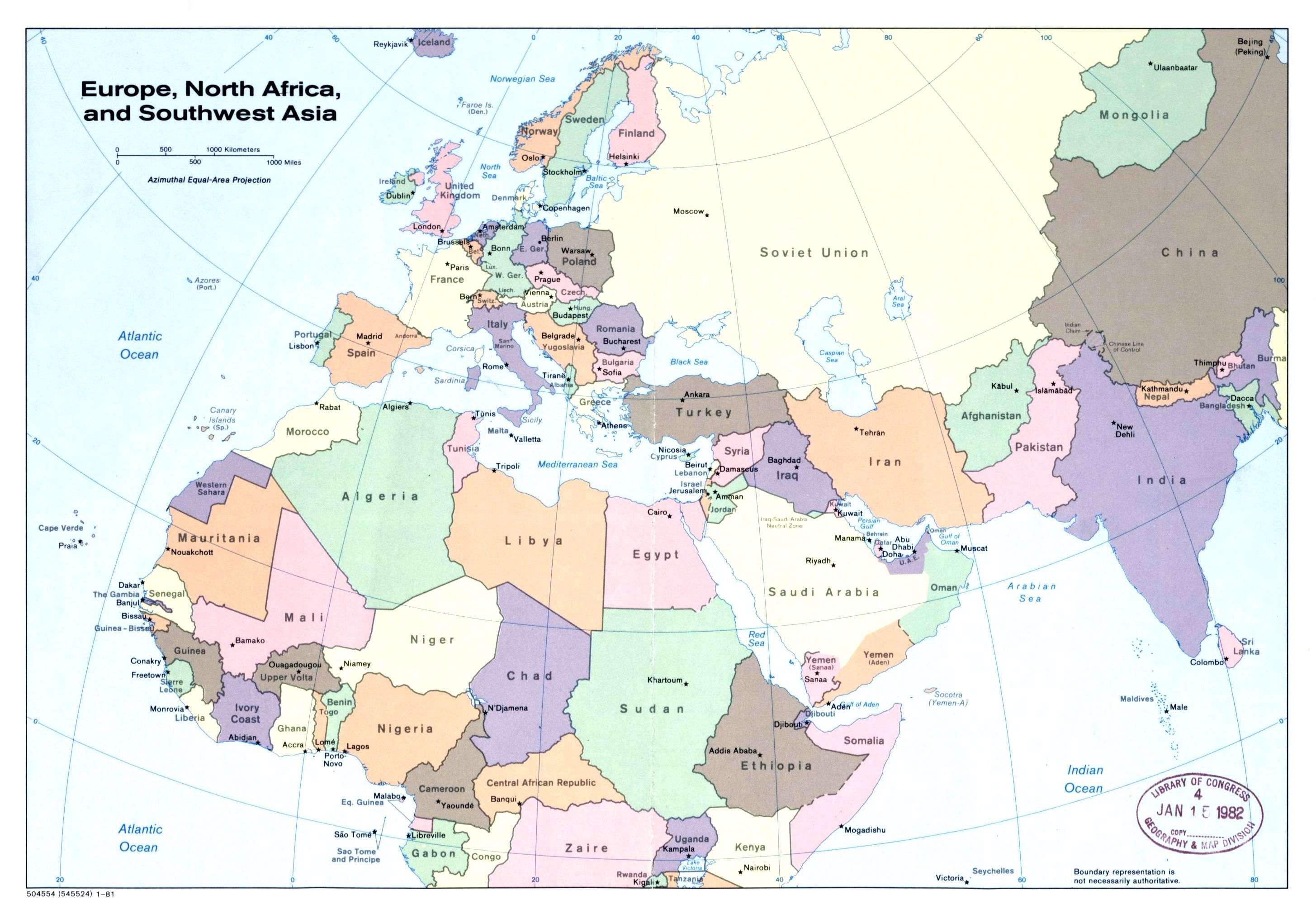 europe north africa map Large Detailed Political Map Of Europe North Africa And Southwest