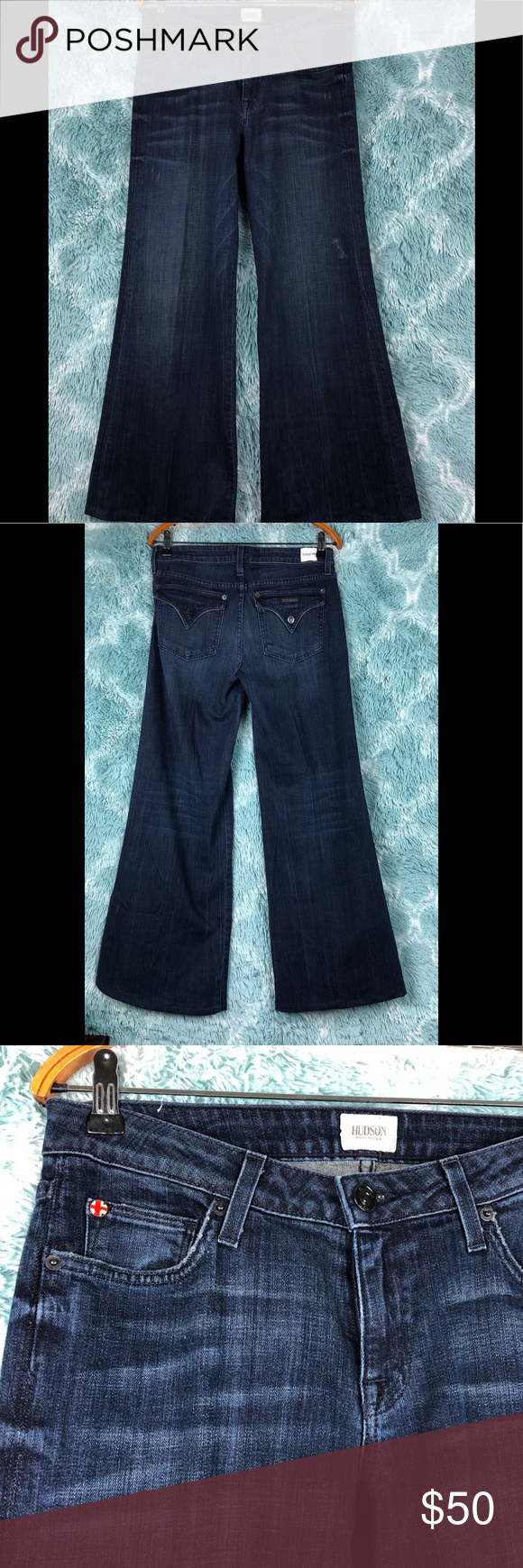 38253912677 Hudson Woodstock Flare Wide Leg 5 pockets dark blue bellbottom. No holes or  stains 104F Hudson Jeans Jeans Flare   Wide Leg
