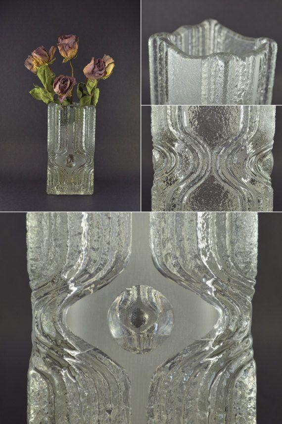 Vintage Square Glass Vase Heavy Glass Vase Brutalist Glass Vintage