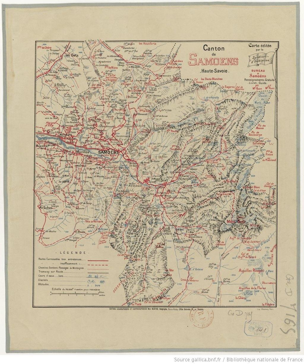 Syndicat d'initiative (Samoens, Haute-Savoie) (1915) Canton de Samoens, Haute-Savoie. Is : M. Mahyre, 1 carte coul. ; 30 x 33 cm [http://catalogue.bnf.fr/ark:/12148/cb407614488]