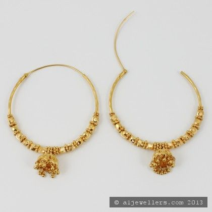 Gold Hoop Earrings Ear Bali in 22K Gold GER6713 Buy this