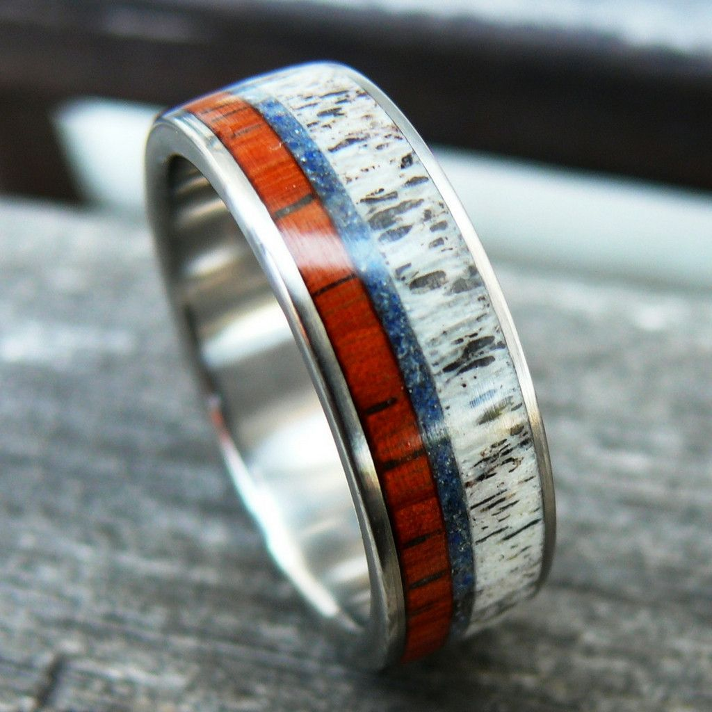 Titanium Wood Deer Antler Ring With Blue Crushed Stone Deer