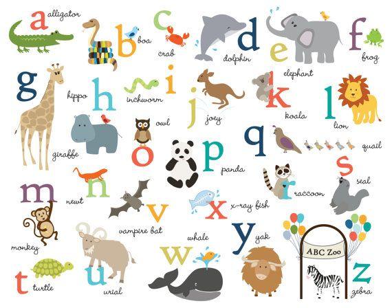 Vector Illustration Funny Zoo Animals Kid's Alphabet. Hand Drawn ...