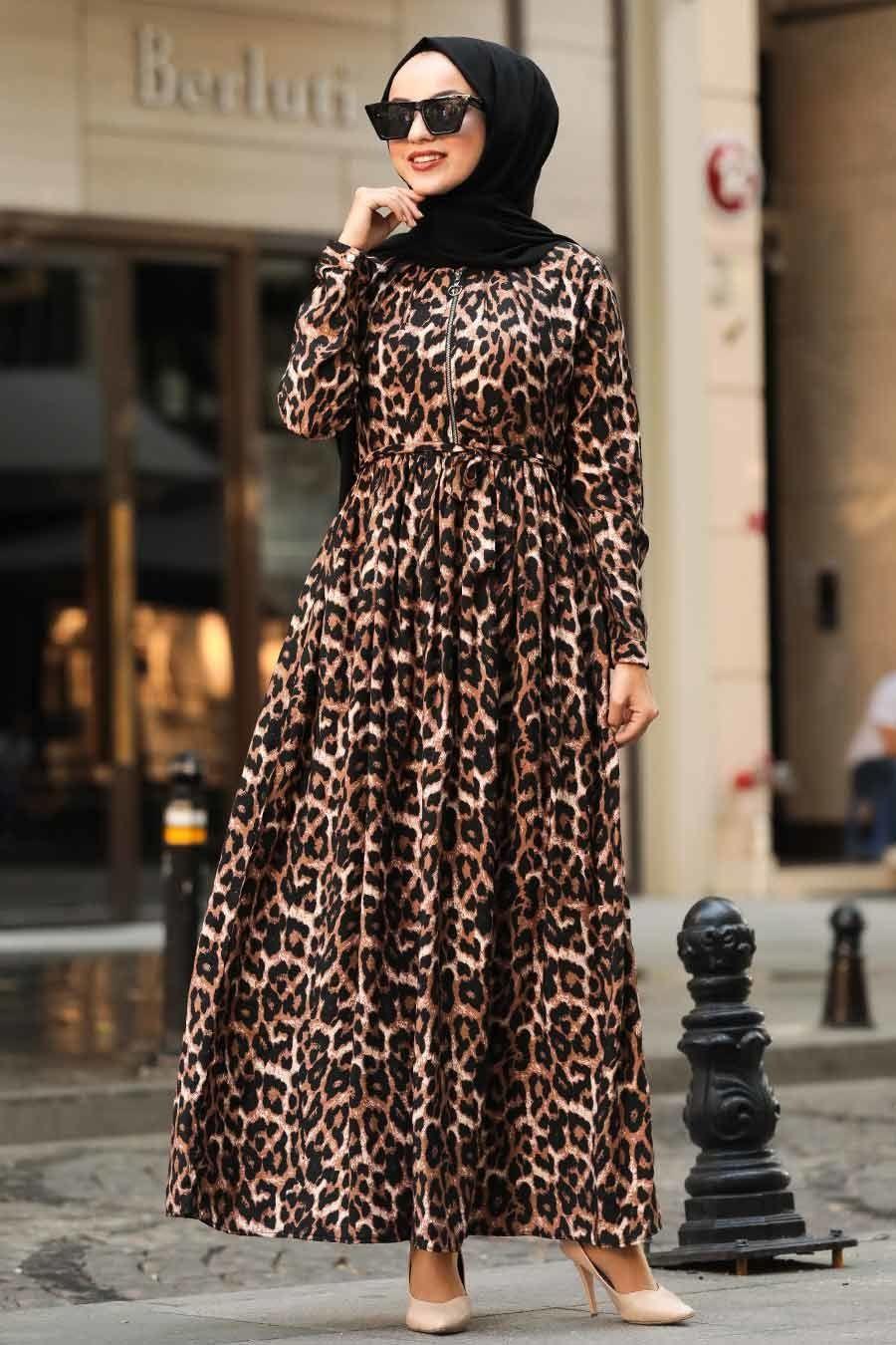 Neva Style Leopar Desenli Tesettur Elbise 3997lp Basortusu Modasi Elbise Abaya Tarzi