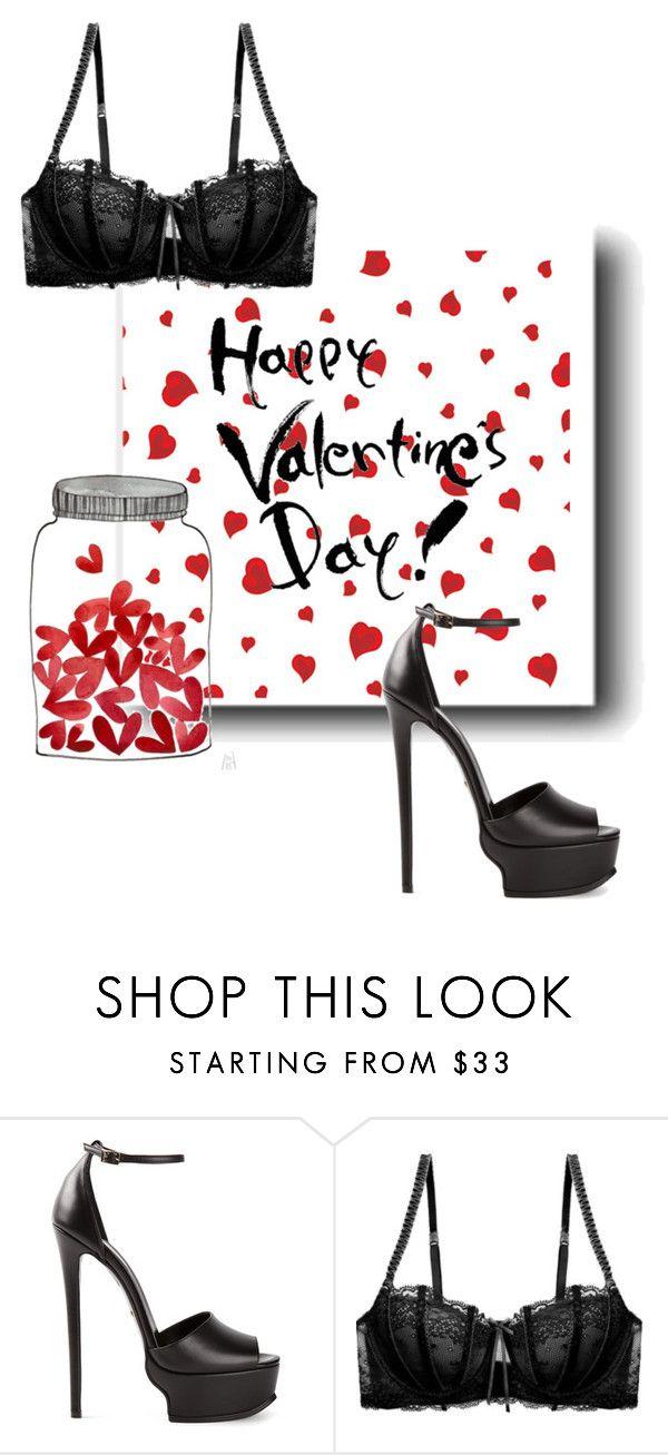 """valentines"" by soleil-zandbergen ❤ liked on Polyvore featuring Roberto Cavalli, Heidi Klum Intimates, valentinesday and polyfriends"