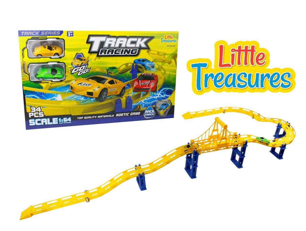 Car toys for girls  Track racing track  race over a city bridge up and down hills