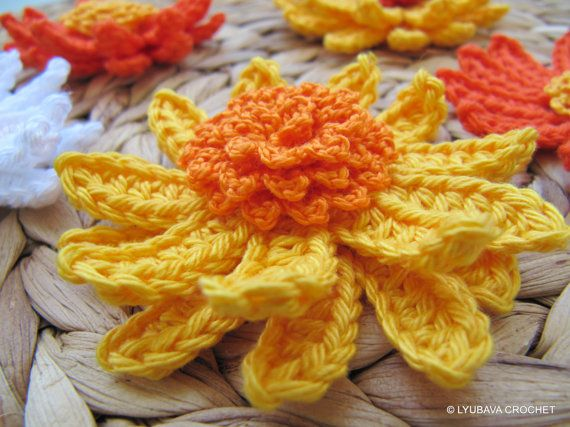 Crochet Flower Pattern Gerbera Daisy Flower Spring Diy Crafts 3d