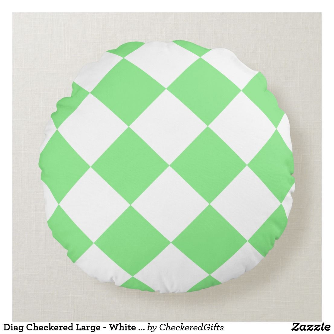 Diag Checkered Large - White and Light Green Round Pillow   green Round Pillow