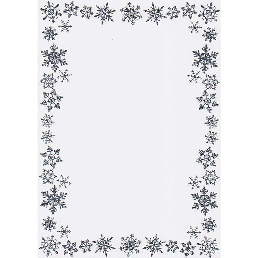 printable christmas border writing paper a snowflake border printable christmas border writing paper a5 snowflake border card blanks and envelopes silver on