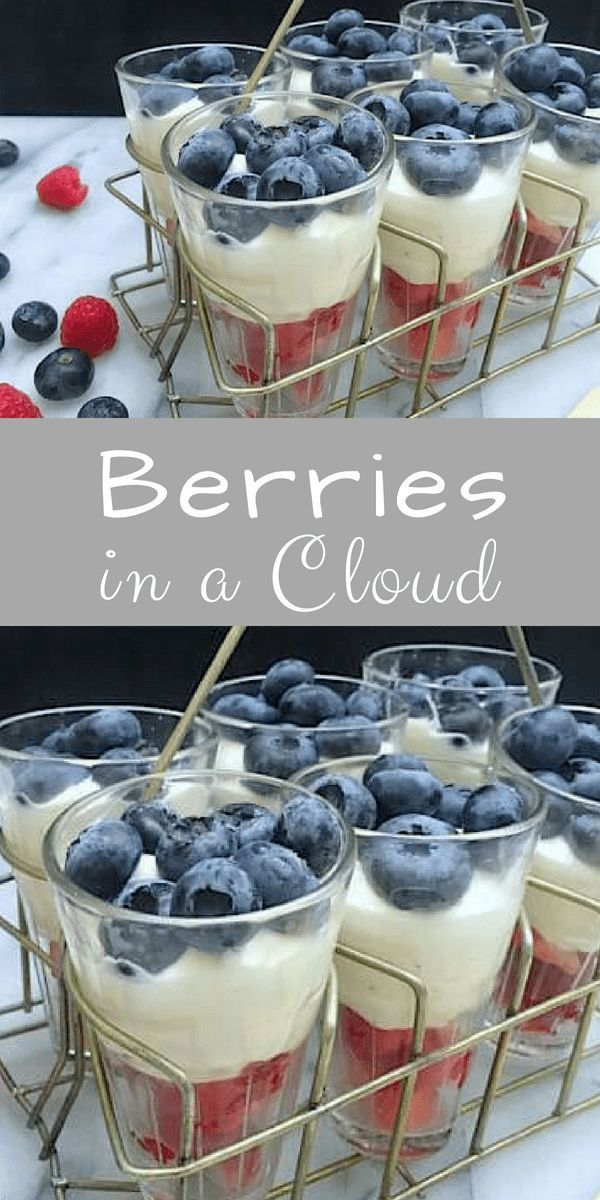 Berries in a Cloud Berries in a Cloud : This is one of my go-to dishes for dinner parties and gatherings. As such, the dessert serves eight. If you are cooking for a smaller crowd, feel free to cut the recipe in half.