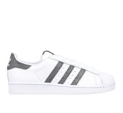 check out 2521f fb57a Baskets blanches cuir Superstar Adidas Originals détail tacheté prix promo  Baskets Femme Monshowroom 90.00 €