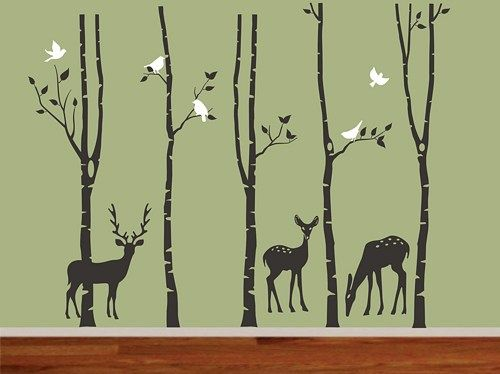 Forest Birch Tree Christmas Deer Wall Decalsdeer Birch Trees And - Vinyl wall decals birch tree