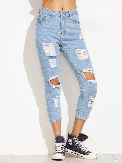 Vaqueros Tobilleros Desgastados Azul Ropa Juvenil Femenina Moda Jeans De Moda Pantalones Jeans De Moda