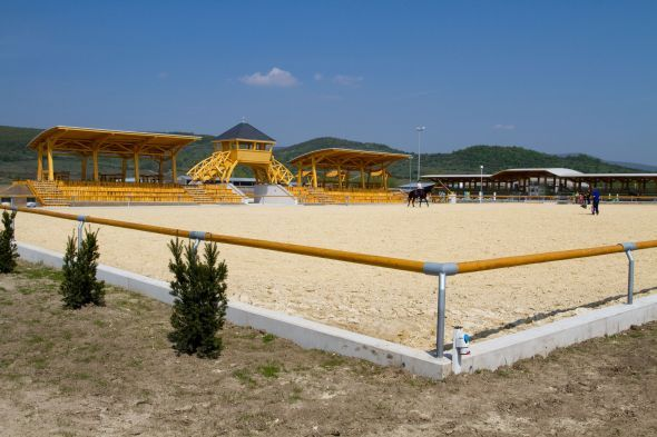 Outdoor arena with viewing areas