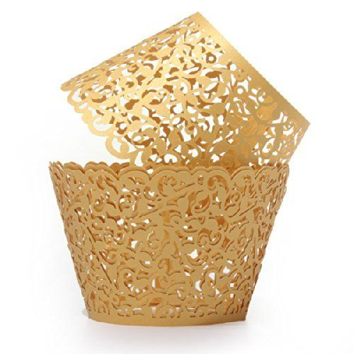 Baloray Pack of 24 Filigree Little Vine Lace Laser Cut Cupcake Wrapper Liner Baking Cup Muffin Case Trays Wedding Birthday Party Decoration (Gold) Baloray