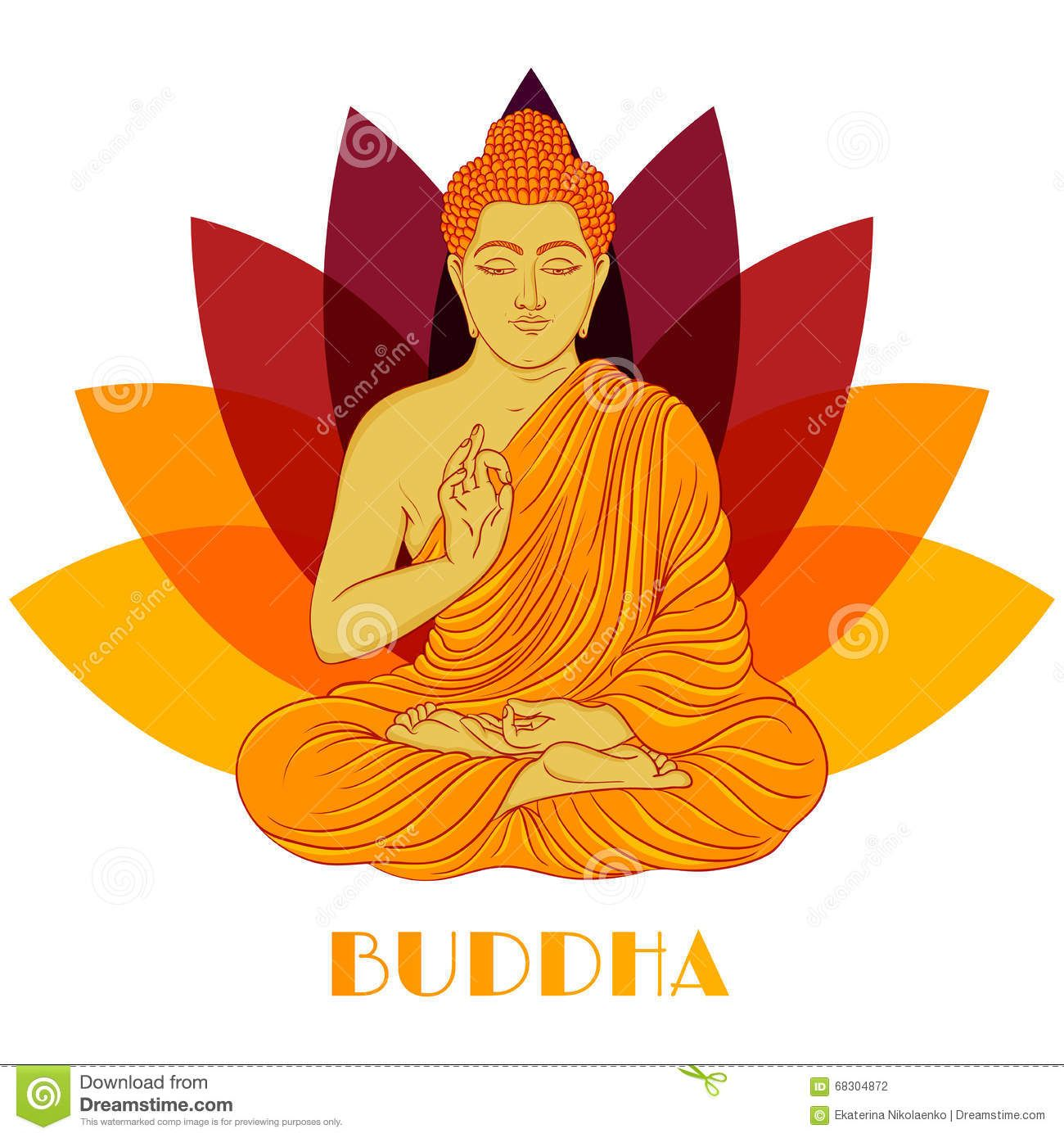 Sitting Buddha Over Lotus Flower Background Hand Drawn Vector
