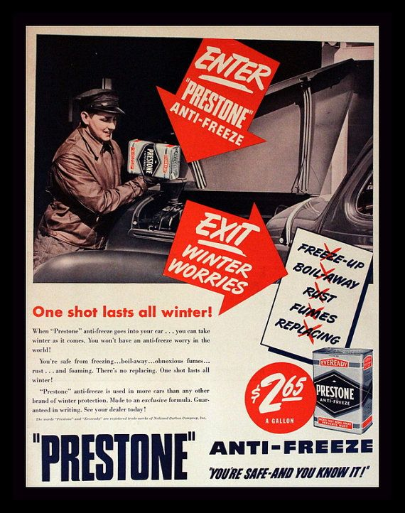 1940 Prestone Anti Freeze Ad with Gas Station by 3rdStVintagePaper