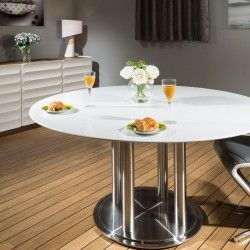 Quatropi Round Dining Table White 150cm Corian Top Commercial
