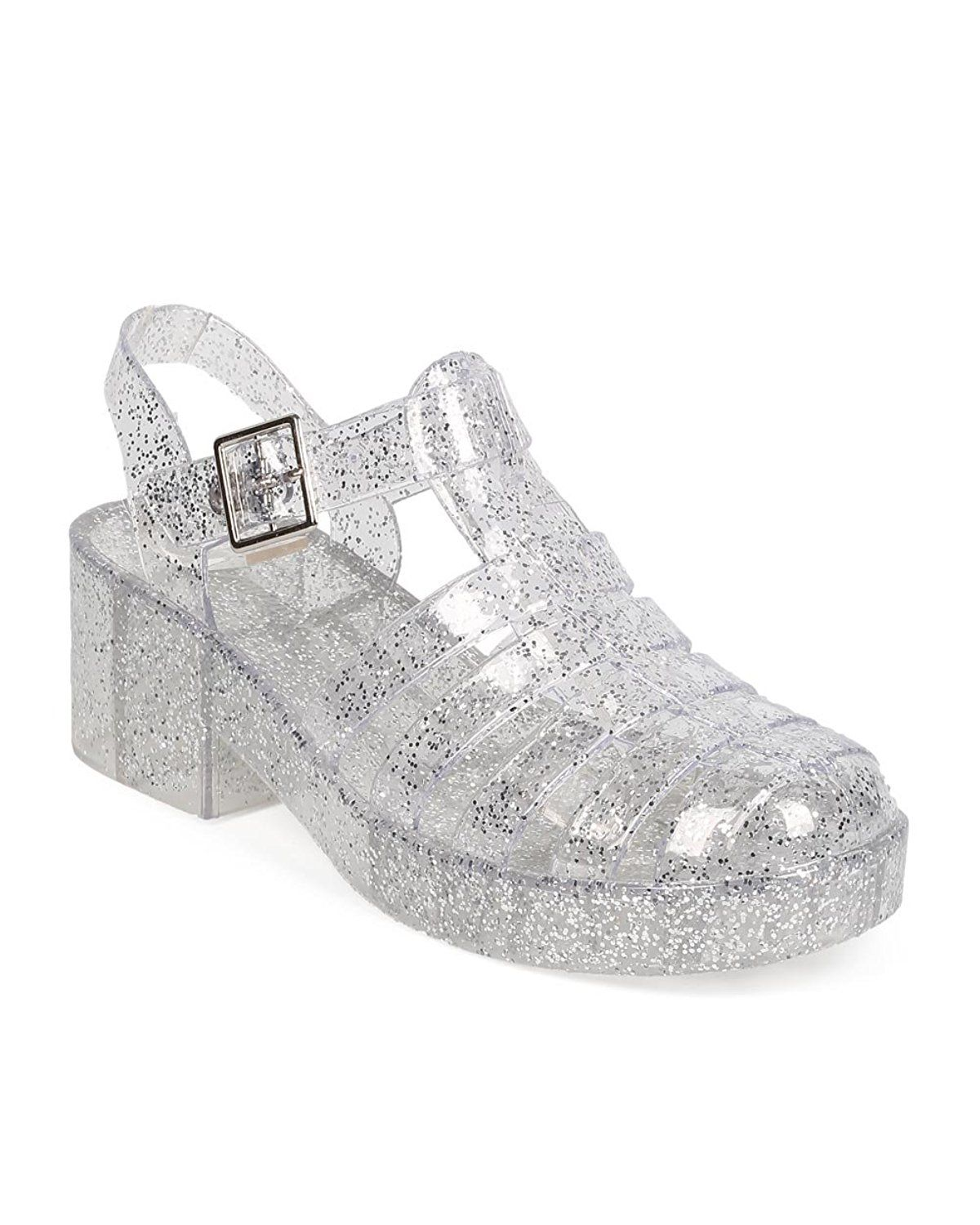 c89631f34820 Forever EA71 Women Glitter Jelly Round Toe Block Heel Fisherman Sandal -  Clear     Hurry! Check out this great product   Jelly Sandals