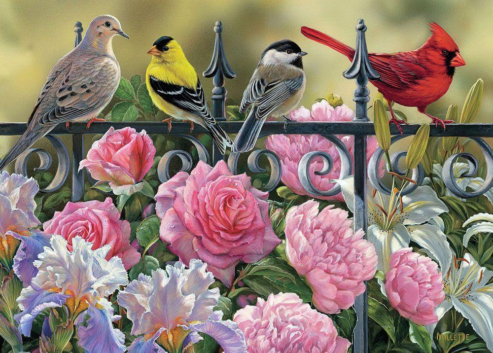 Картинки цветов с птичками