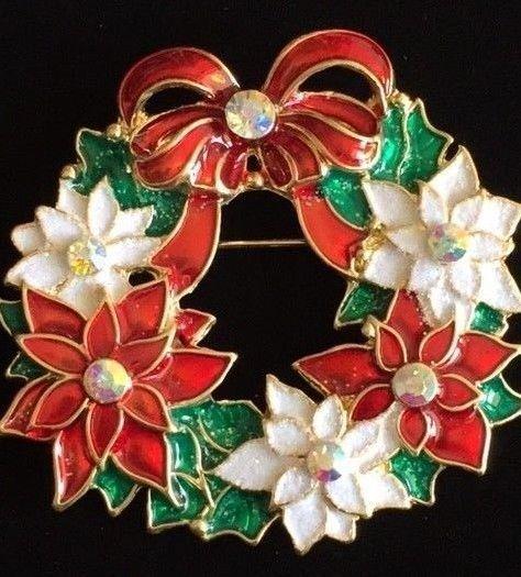 Ab rhinestone christmas holly poinsettia flower wreath bow pin