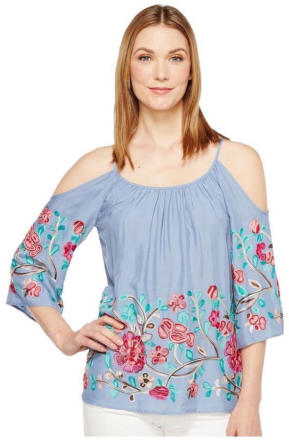 0a8e295b853d2 Karen Kane Embroidered Cold Shoulder Top