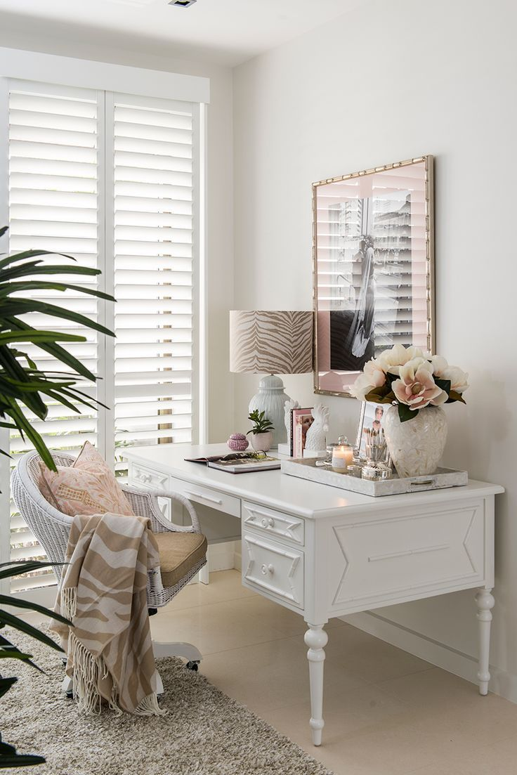 An utterly feminine workspace, crafted by Verandah House. Serious love-eyes in QH HQ! {Image: Steve Ryan, Rix Ryan Photography}