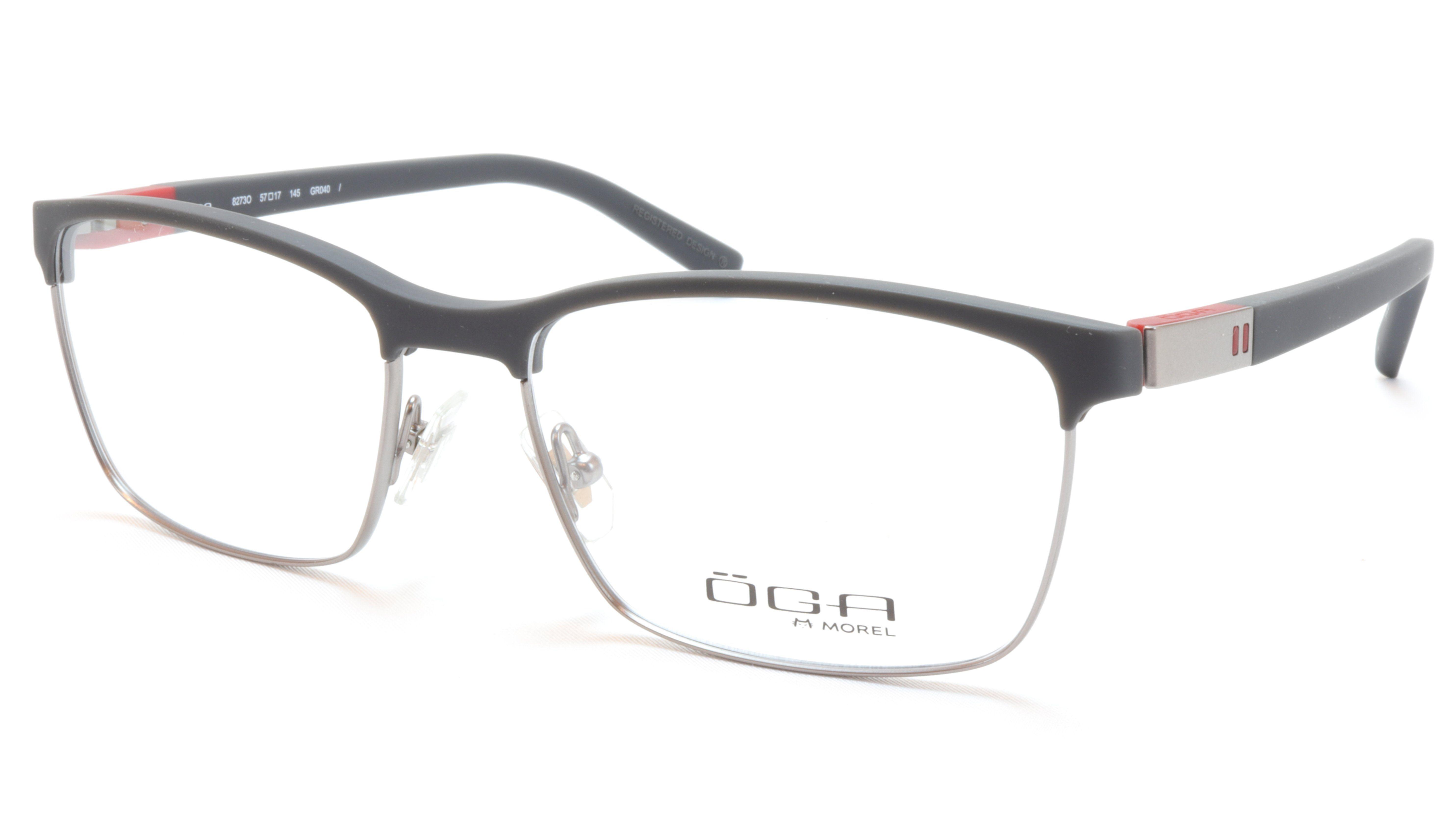 2fbf150e59b2 OGA Morel Eyeglasses Frame 82730 GR040 Acetate Matt Black Gunmetal Red  France
