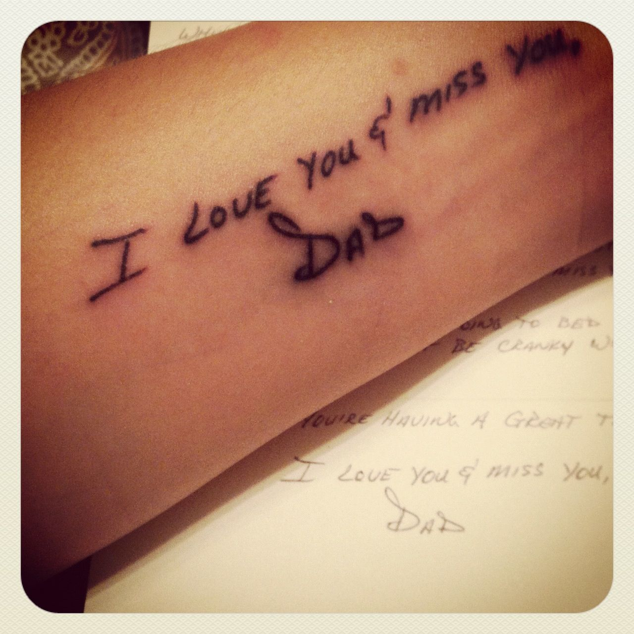 Tattoo From An Old Card In Memory Of My Dad. Love This