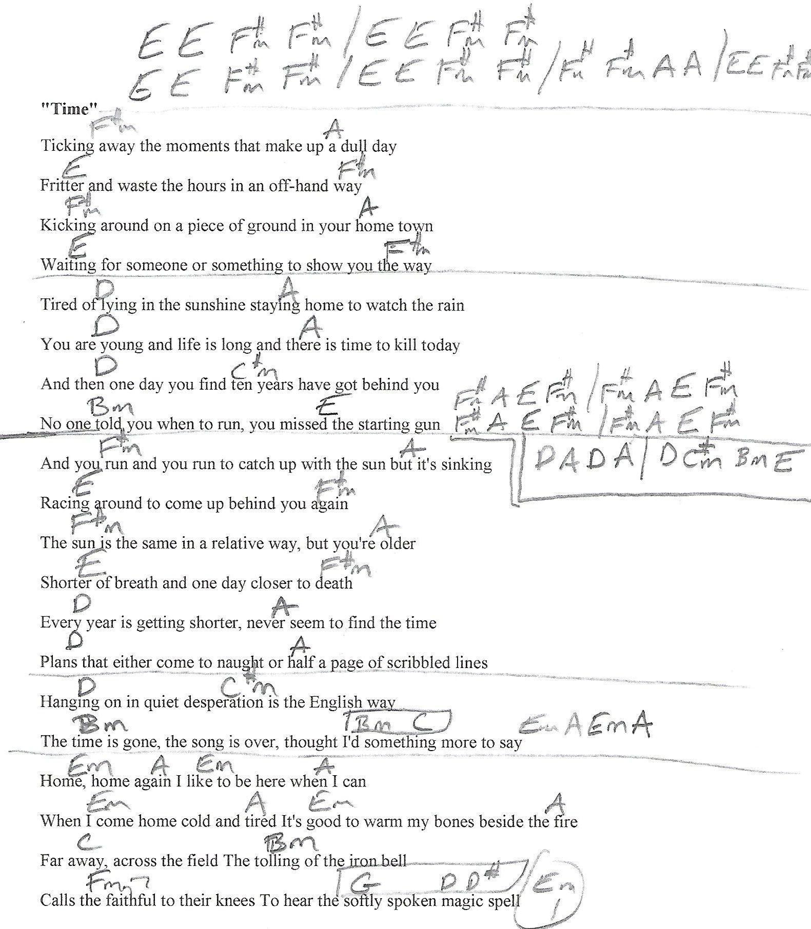 Time Pink Floyd Guitar Lesson Chord Chart With Lyrics Guitar
