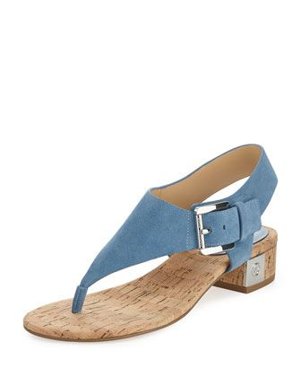 London+Suede+Low-Heel+Thong+Sandal,+Denim+at+CUSP.