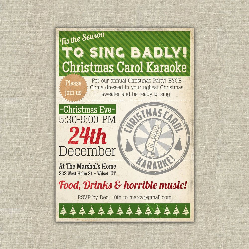 Printable karaoke Christmas party invitation carol. $20.00, via Etsy ...