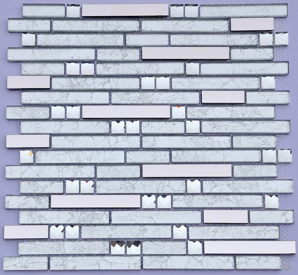 Metal and Glass Diamond Stainless Steel Backsplash Tiles Crystal ...