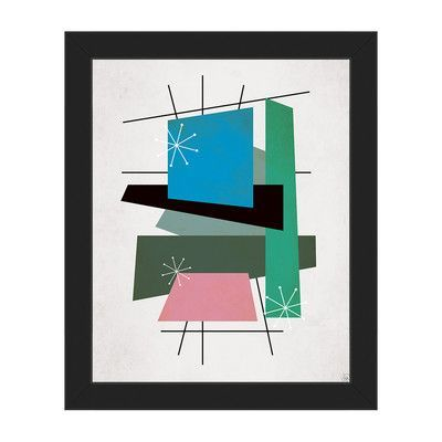 "Click Wall Art Retro Thoughts III Framed Graphic Art on Canvas Frame Color: Black, Size: 10"" H x 8"" W x 1"" D"