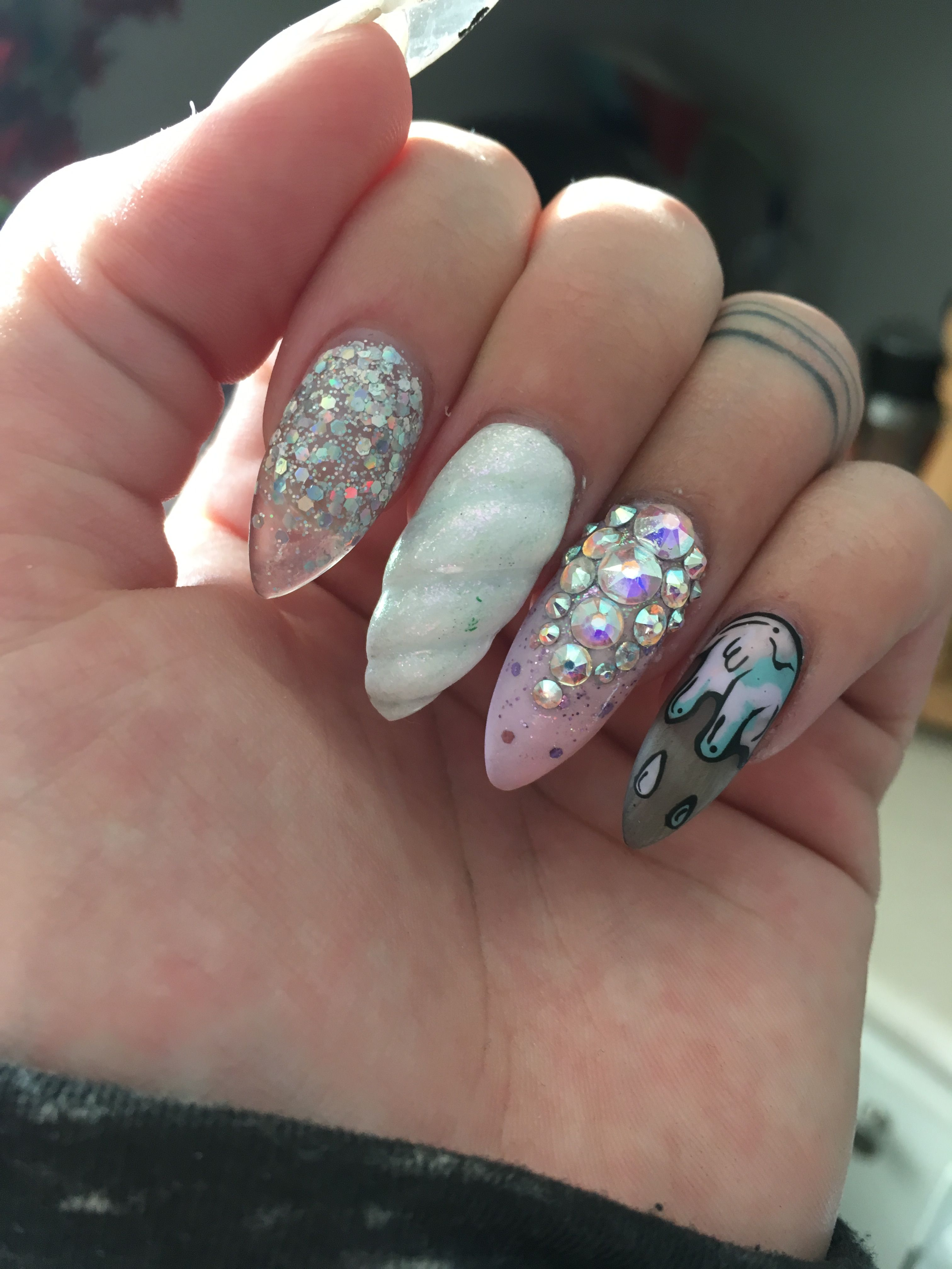 Pastel goth nails Gel nails acrylic nails nail art goth nails pastel ...