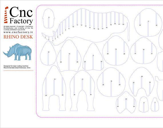 Rhino desk template cut file projects laser machine sculptur proyectos de archivo recortado plantilla rhino escritorio maxwellsz