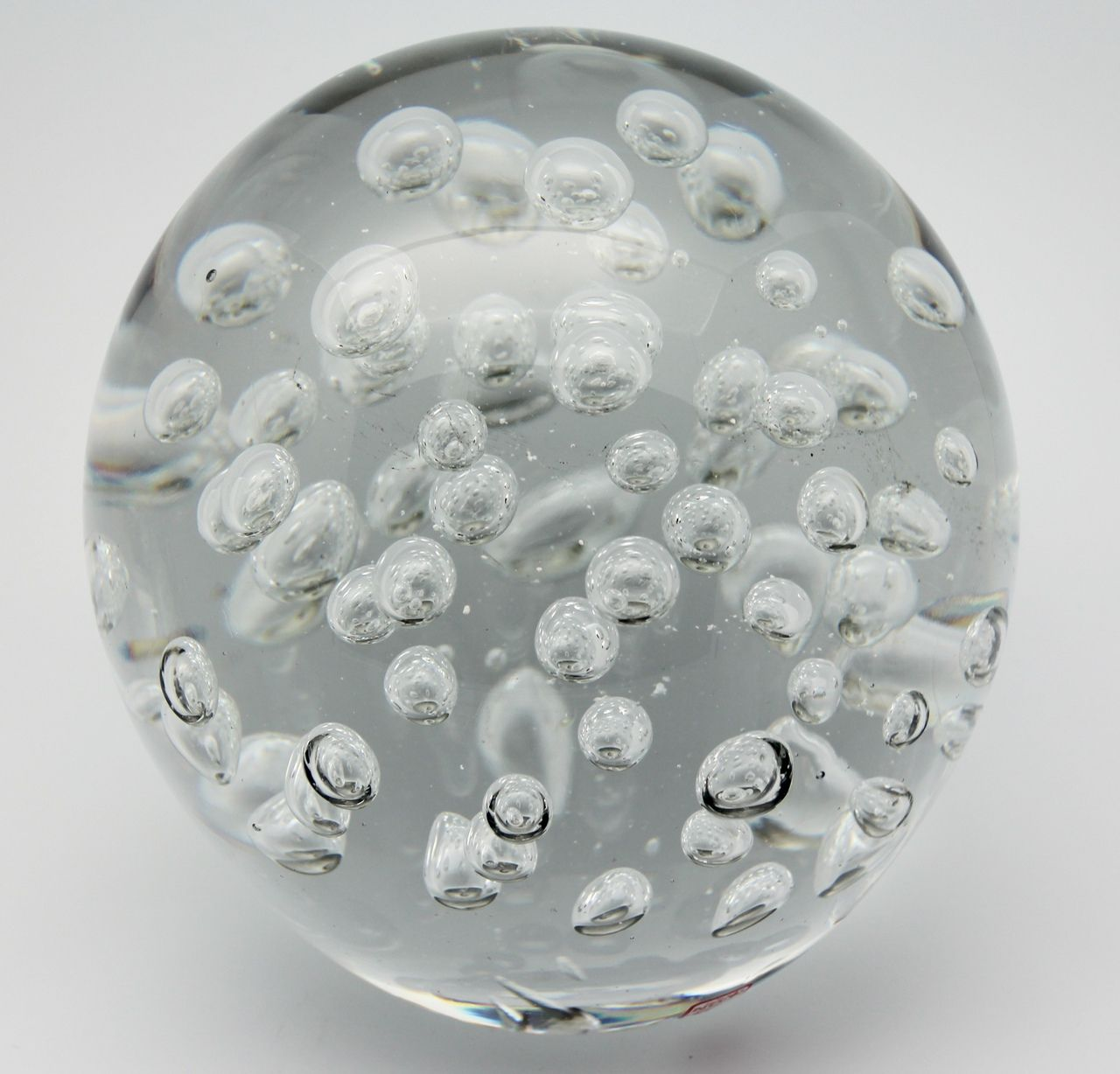 Red White and Clear Bubble Blown Art Glass Paperweight