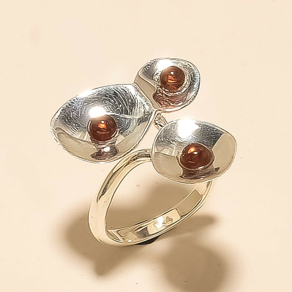 Natural russian red apatite designer flower ring 925