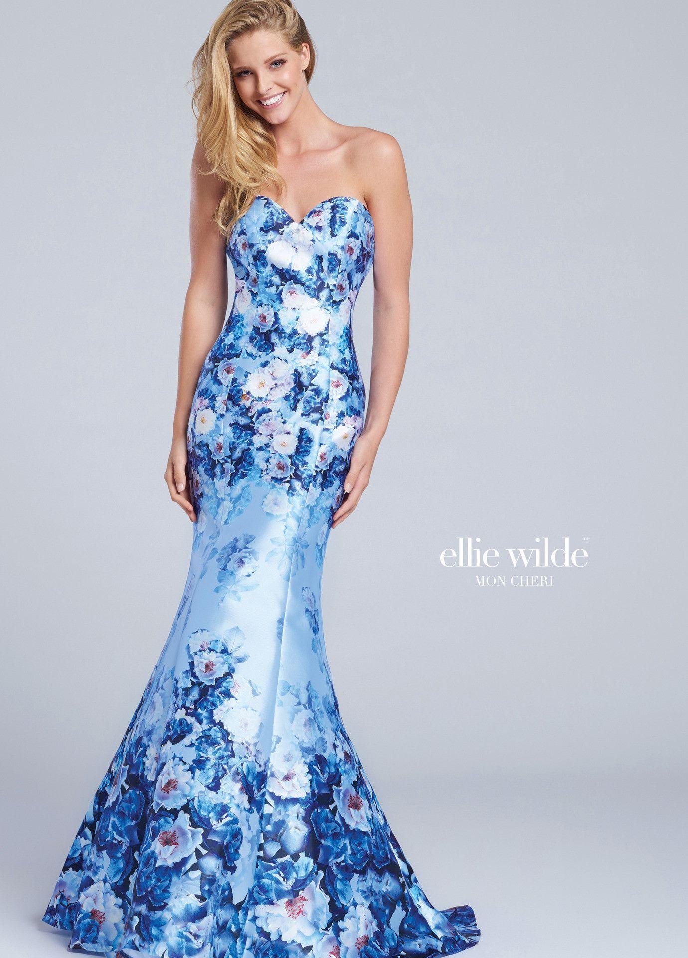 Ellie Wilde 117067 Light Blue/Multi Strapless Prom Dress | Products ...