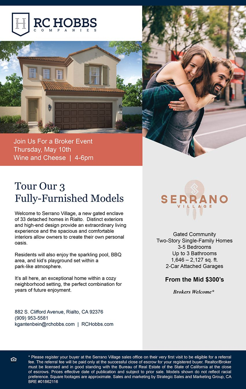 New Homes For Sale In Rialto California You Re Invited Broker Event May 10th Brokers Welcome 4 6pm Enjoy Village New Homes For Sale Gated Community