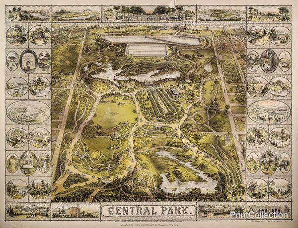 PrintCollection - Aerial Map View of Central Park 1863 | Central park map,  New york public library, Central park nyc