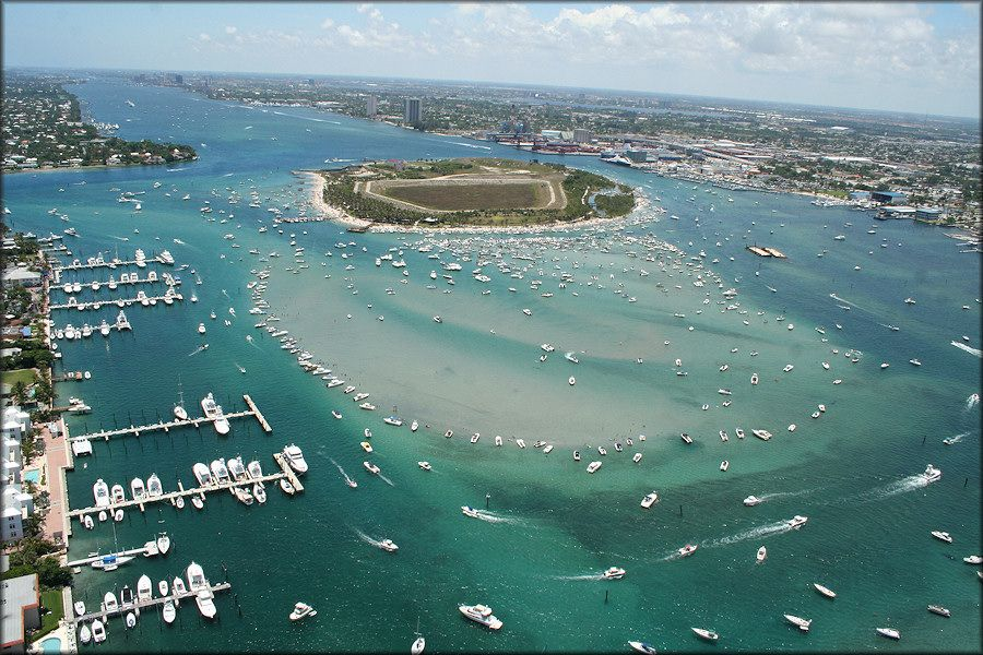 Aerial View Of Peanut Island Palm Beach Inlet Florida