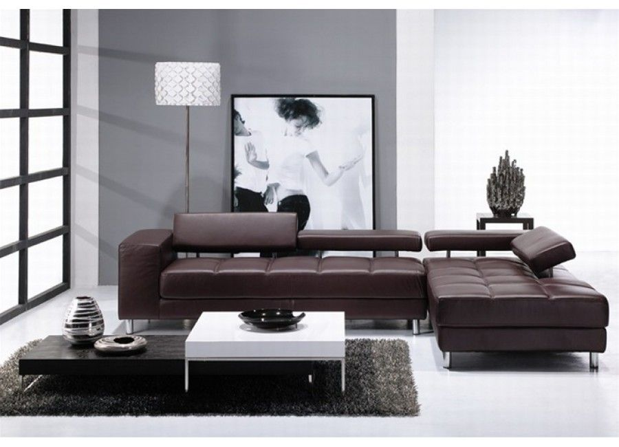 sanata  modern brown leather sectional sofa with