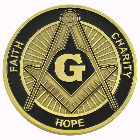 "FREEMASONRY Faith Hope Charity 3/"" Car Emblem Square /& Compass BLACK //// GOLD"