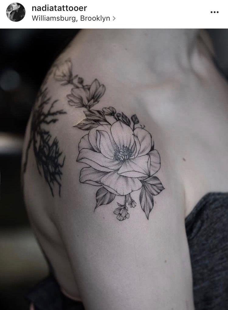 Floral Shoulder Cap By Nadia At Fleur Noire Tattoo In Brooklyn Ig