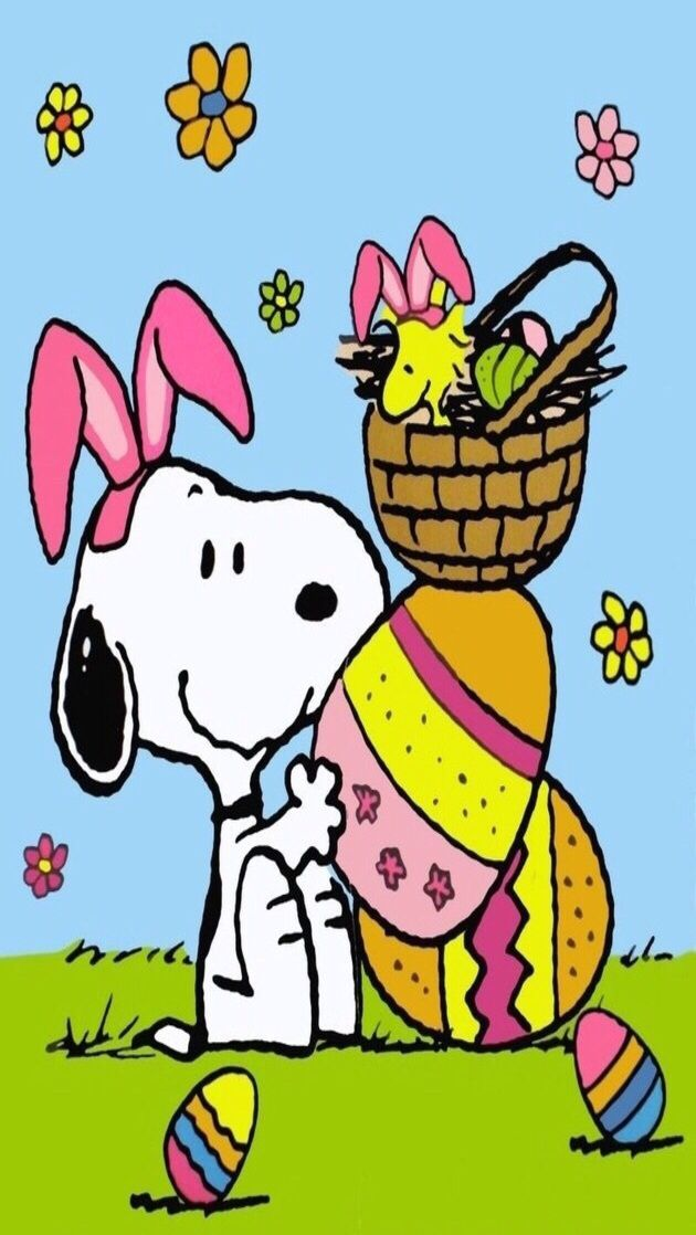 Iphone wallpaper easter tjn iphone walls easter snoopy bonne paques gifs - Snoopy wallpaper for walls ...