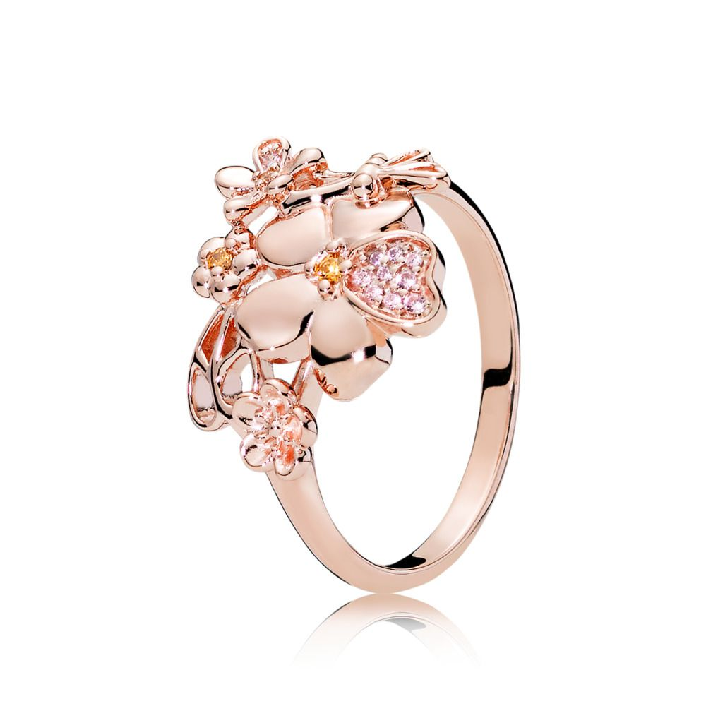 Floral ring in rose with 2 beadset rose pink crystals 8