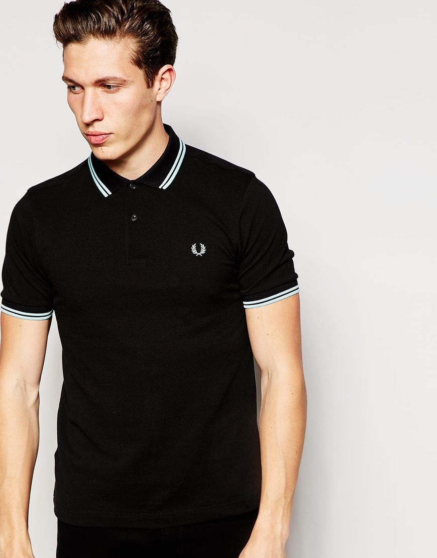 fred perry fred perry polo shirt with twin tip slim fit. Black Bedroom Furniture Sets. Home Design Ideas